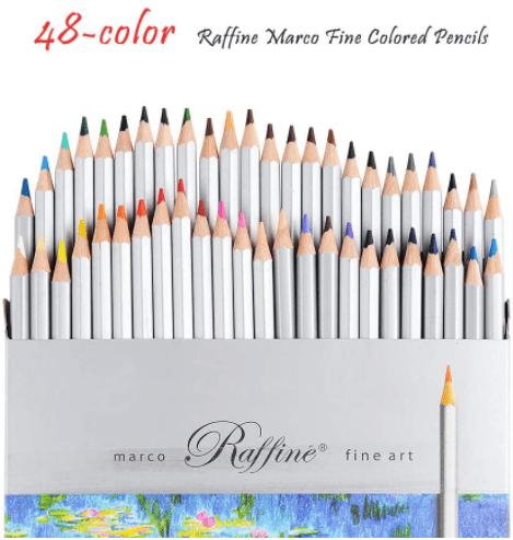 Colored Pencils, Marco Raffine Fine 48 Colors Art Drawing Pencil